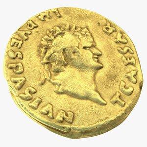 Aureus Roman Empire Gold Coin 3D