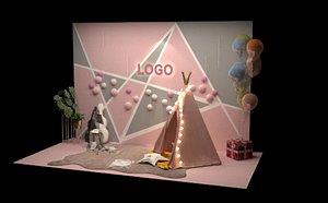 3D Web celebrity photo wall interactive decoration tent lighting LOGO booth luminous booth creati