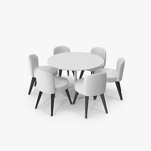 3D Round Dining Table Set
