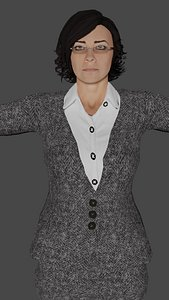 3D businesswoman ready games model