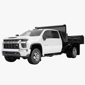 3D Chevrolet Silverado 3500 HD 2021 Flatbed Dump Truck 01