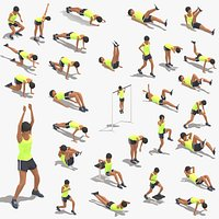 30 Woman Exercise Pack Low-poly