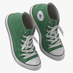3D Basketball Leather Shoes Bent Green model