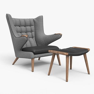Papa Bear Chair And Ottoman A 3D model