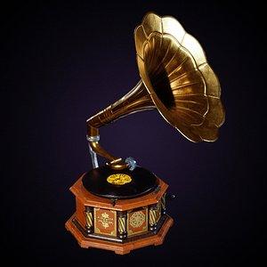 3D Old Gramophone model