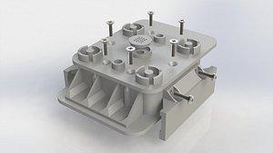 Vacuum block, pad for Homag 140x115 h50 sectional model 3D model