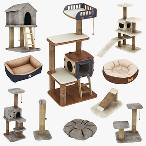3D Pet Interior Bed and Houses 10 in 1 model
