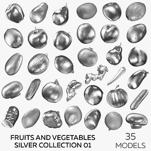 3D Fruits and Vegetables Silver Collection 01- 35 models