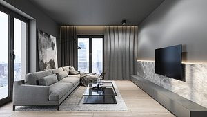 Industrial interior scene kitchen living room model