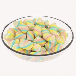 3D candy bowl marshmellows
