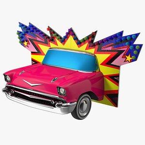 3D model Advertising Volumetric Sign Vintage Car