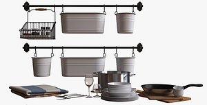 set decor kitchen accessories 3D