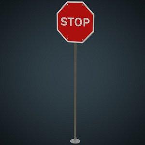3D Stop Sign 1A model