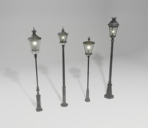 3D Old street lamps