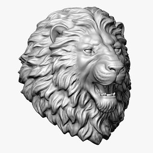 3D Angry Lion Head Sculpture Round Base model