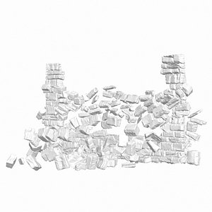 3D realistic stone wall collapse model