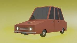 Low Poly Cartoon Car 3D