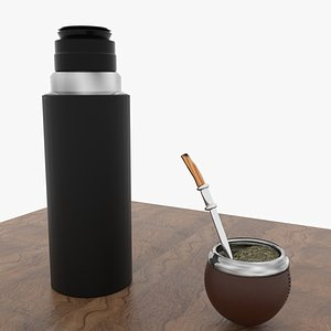 Mate with yerba and termo 3D model