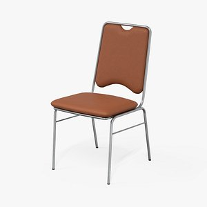3D Contract Dining Chair brown leather model