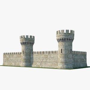 Medieval wall V02 3D model