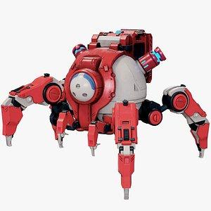 3D Sci-Fi Walker Robot Rigged Lowpoly PBR model