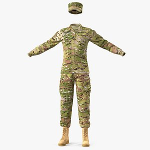 3D female soldier camouflage uniform