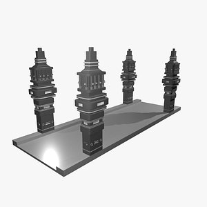 3D Modern Futuristic Space Sci-Fi bridge model
