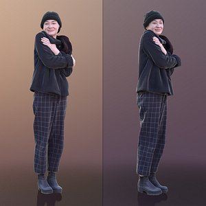 3D woman young freezing