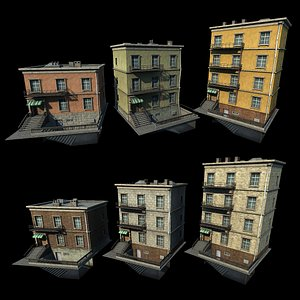 Customizable city building Low-poly Type04 3D model