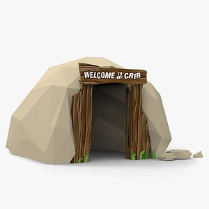 3D Low poly Cartoon Cave Entrance model