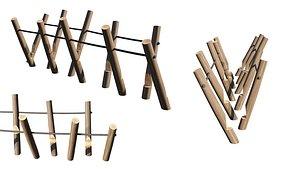 3D PlaygroundWooden Log Balance Beam model