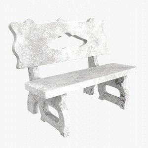 3D Old Concrete Bench 3D model