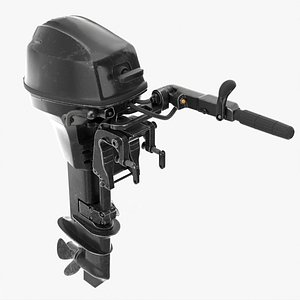 Portable outboard boat motor with tiller used 3D