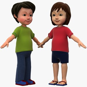 3D Cartoon Boy And Girl