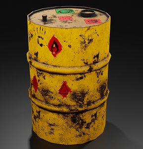 3D Metal barrel with elements of dirt rust and stickers