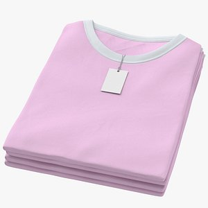 3D Female Crew Neck Folded Stacked With Tag White and Pink 02 model