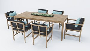 Teak Dining Table and Chair Collection 3D model