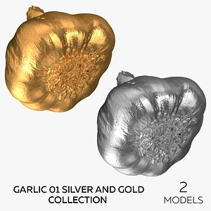 3D Garlic 01 Silver and Gold Collection - 2 models