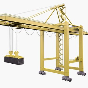 3D Port Container Crane Yellow with Container