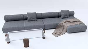 3D Long Sofa with Table