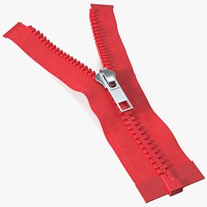 Two Sided Plastic Zipper Opened Red model