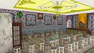 3D ottoman restaurant model