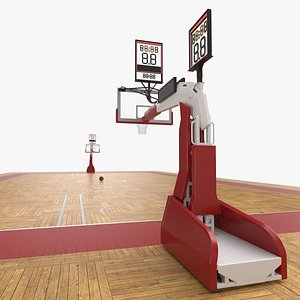 3D Basketball Court and Baskets 02 model