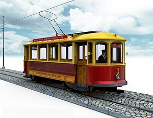 3D model tramway retro tram