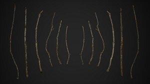 oak branch scanned 3D model