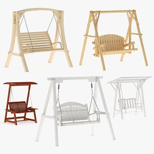 3D 5 Wooden Swing Chairs Set