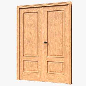 3D Oak Double Leaf Door model