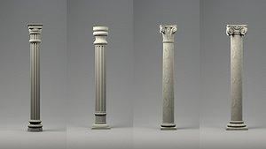 3D model greek columns ancient