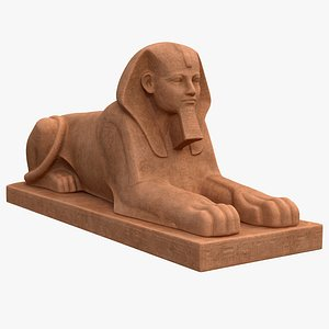 Sphinx Statue at Pedestal model