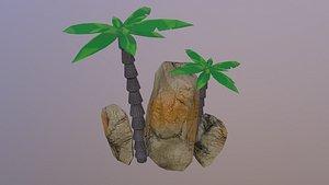 3D model Low Poly Sand Rocks 3